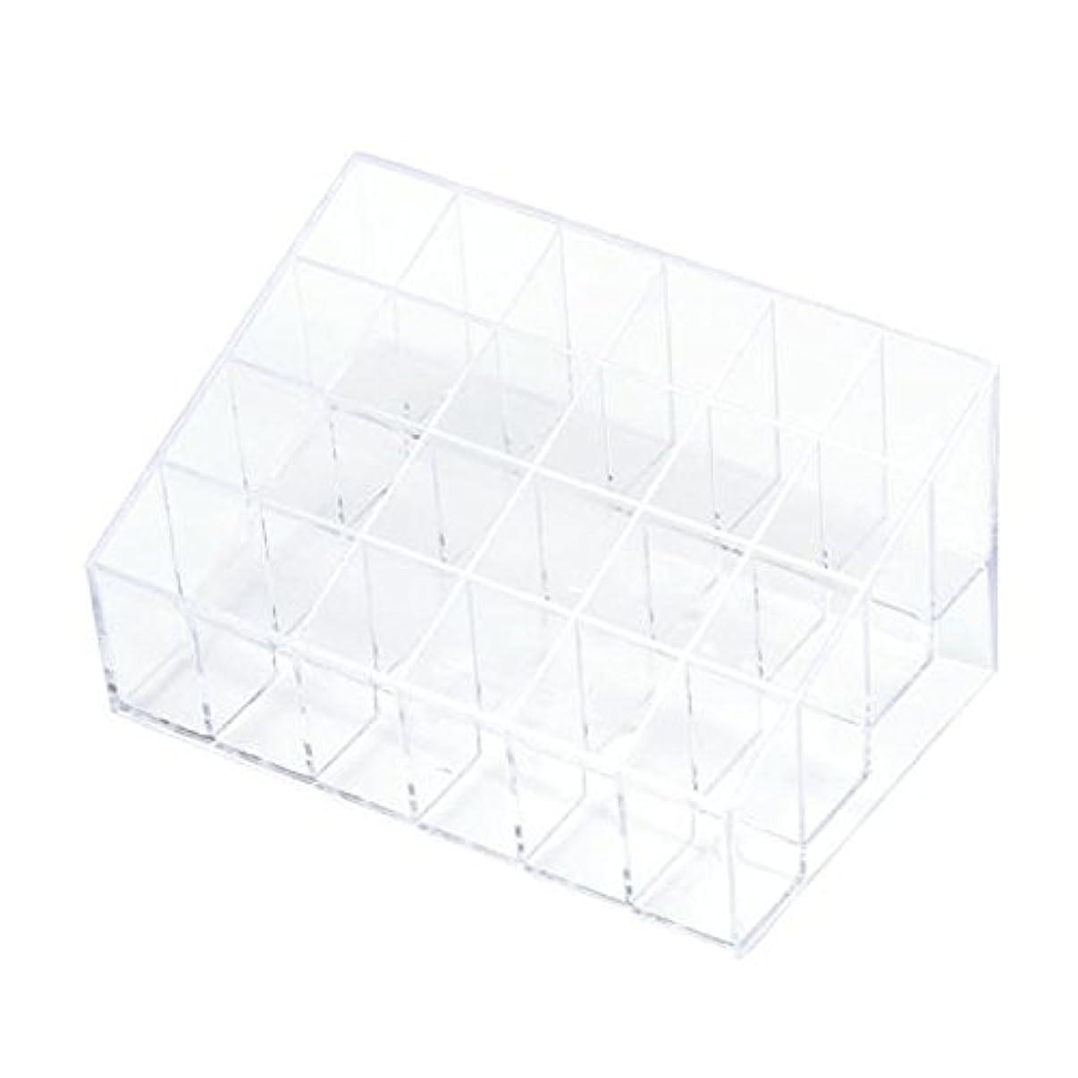 こっそり畝間残忍なYOKINO 口红收纳盒 メイクアップ 化粧品収納ボックス 白い透明な 宝石箱口紅ストレージスタンドホルダー 生活用品 便利 プラスチック製 24グリッド