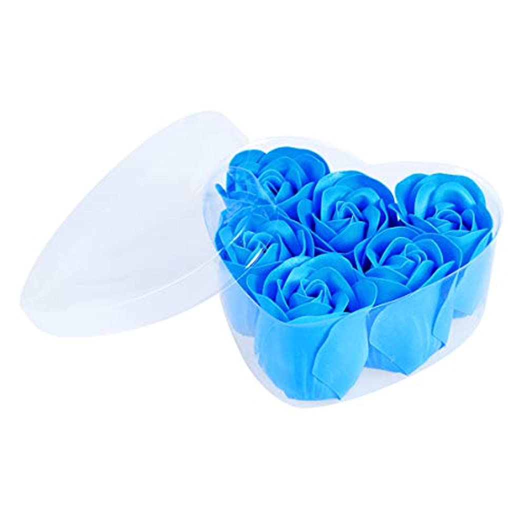 軽減ルーム抵抗力があるFRCOLOR 6ピースシミュレーションローズソープハート型フラワーソープギフトボックス用誕生日Valentin's Day(Blue)