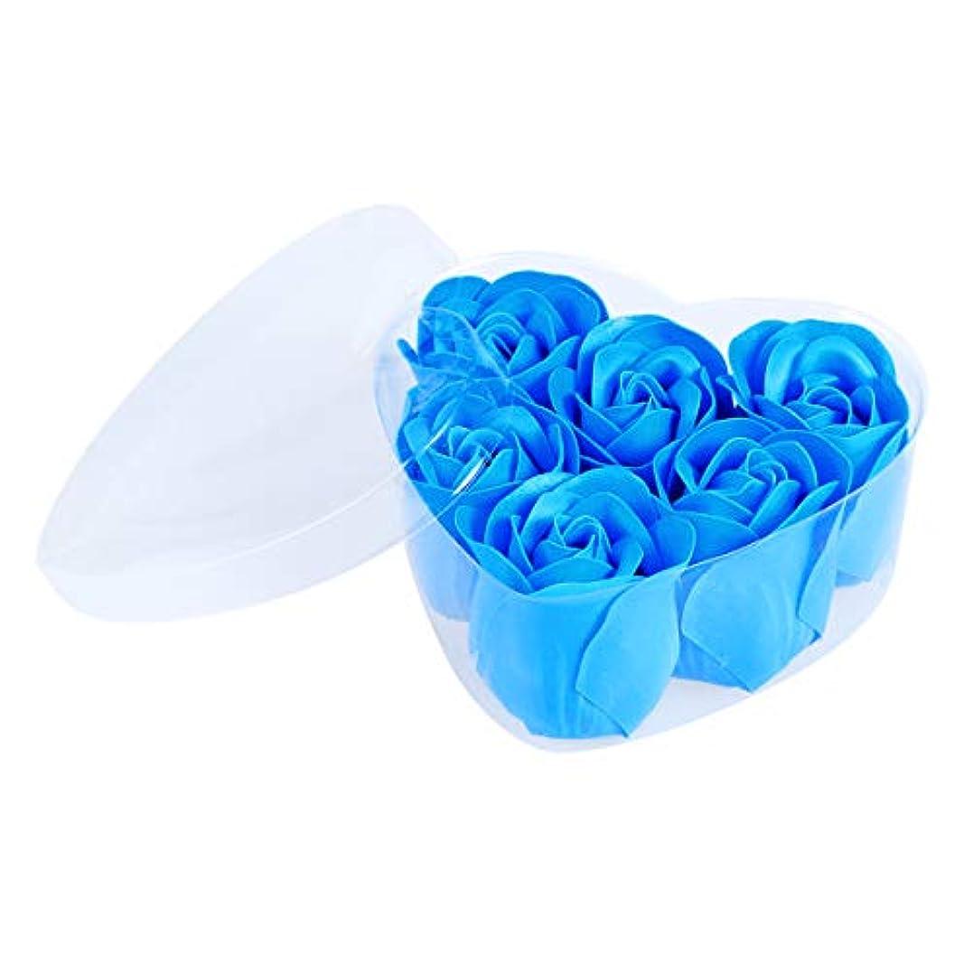 意気込み水っぽいターゲットFRCOLOR 6ピースシミュレーションローズソープハート型フラワーソープギフトボックス用誕生日Valentin's Day(Blue)