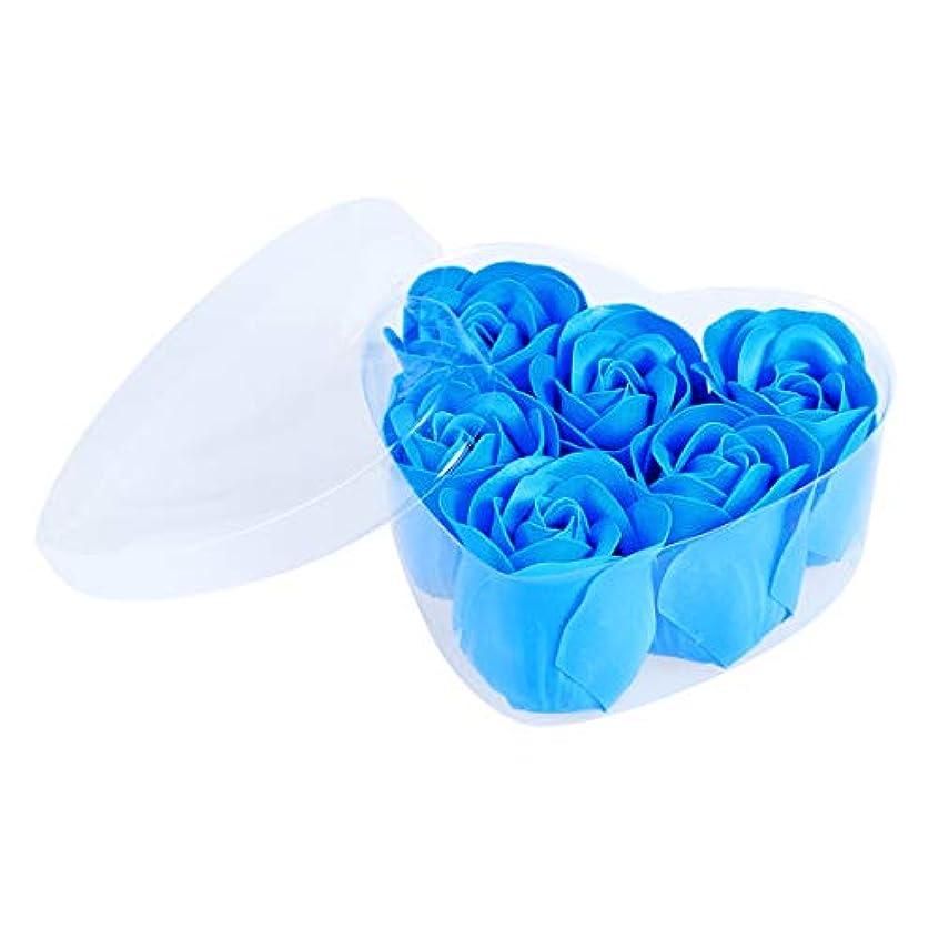 コマース争い名門FRCOLOR 6ピースシミュレーションローズソープハート型フラワーソープギフトボックス用誕生日Valentin's Day(Blue)