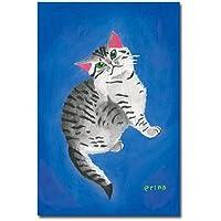 猫の足あと ポストカード 「目がキラキラ」