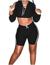 sayahe 女性のワークアウトは、スウェットニットロングスリーブトップTシャツとショートパンツセット