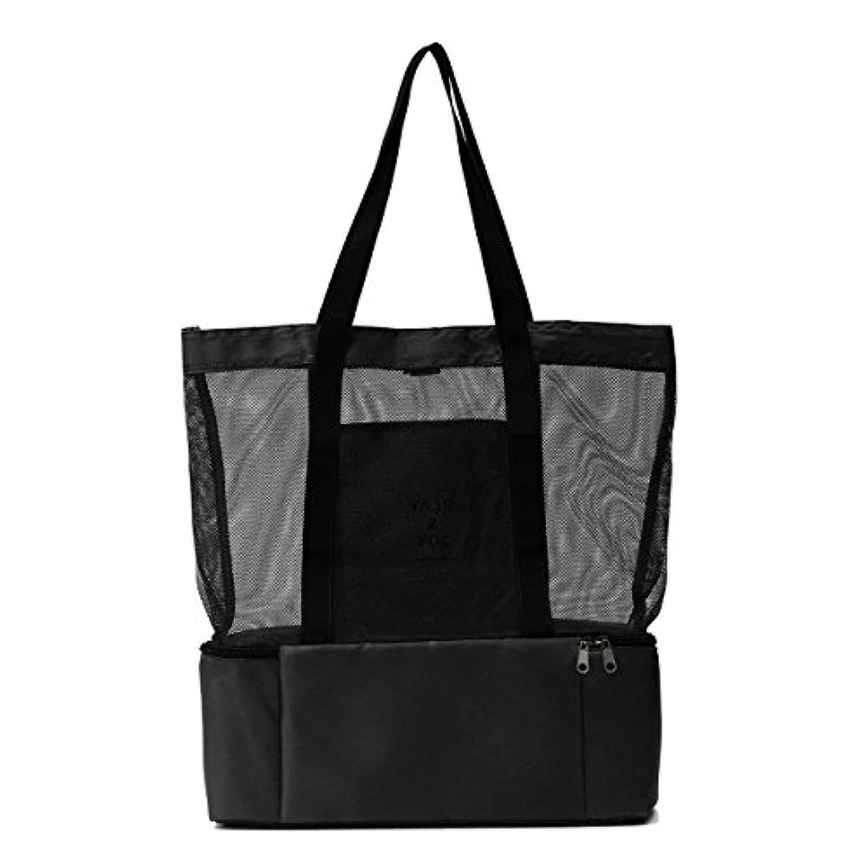 YiaMiaアウトドアバッグ ハンドバッグ 片肩 バッグ かばん 収纳 メッシュバッグ 保温 ピクニック バッグ 黒い