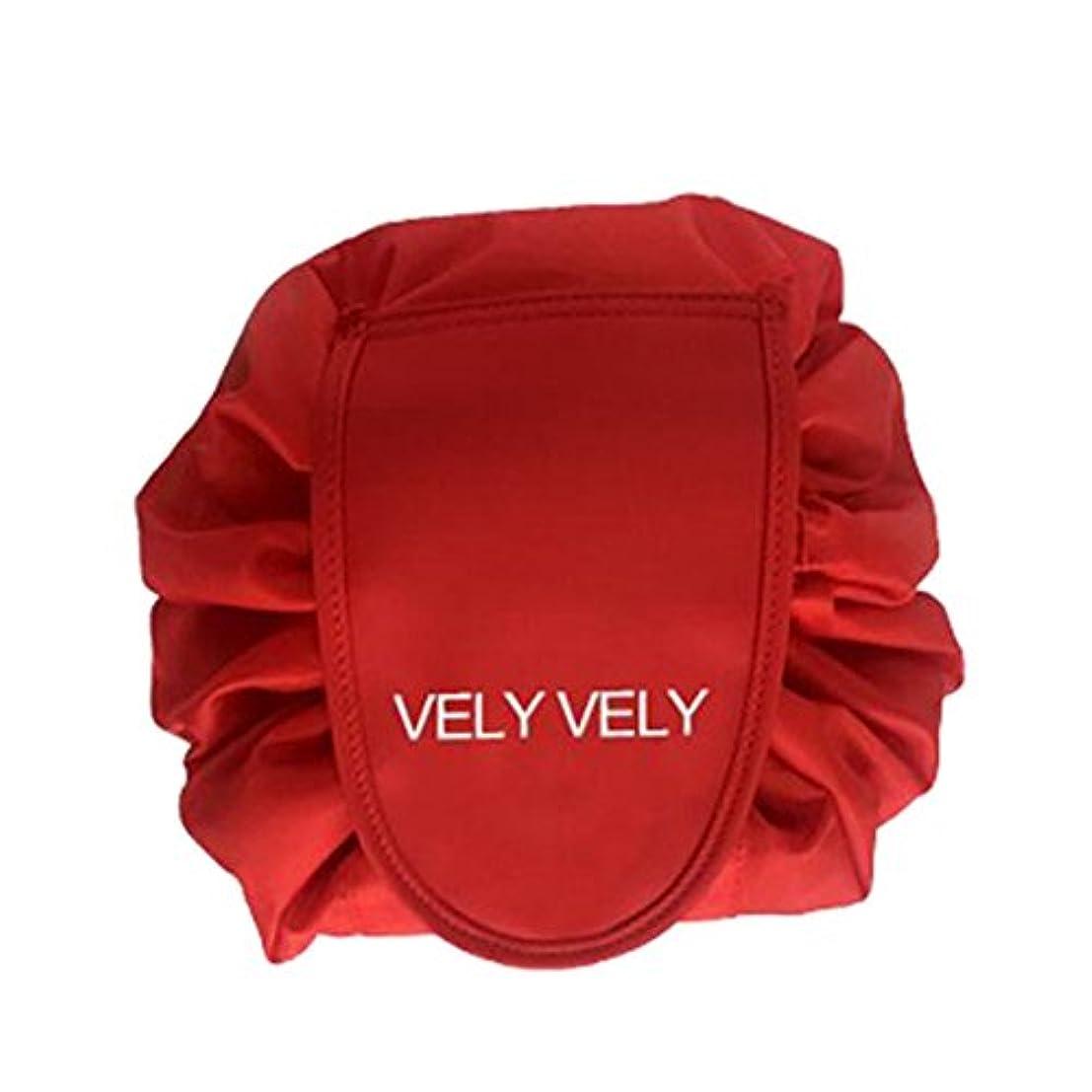バッジ媒染剤開発するSmartRICH 化粧品収納バッグ,折畳式 巾着型 収納携帯用 便利 防水的 旅行 容量大きい 可愛い 化粧バッグ 化粧ポーチ (赤)