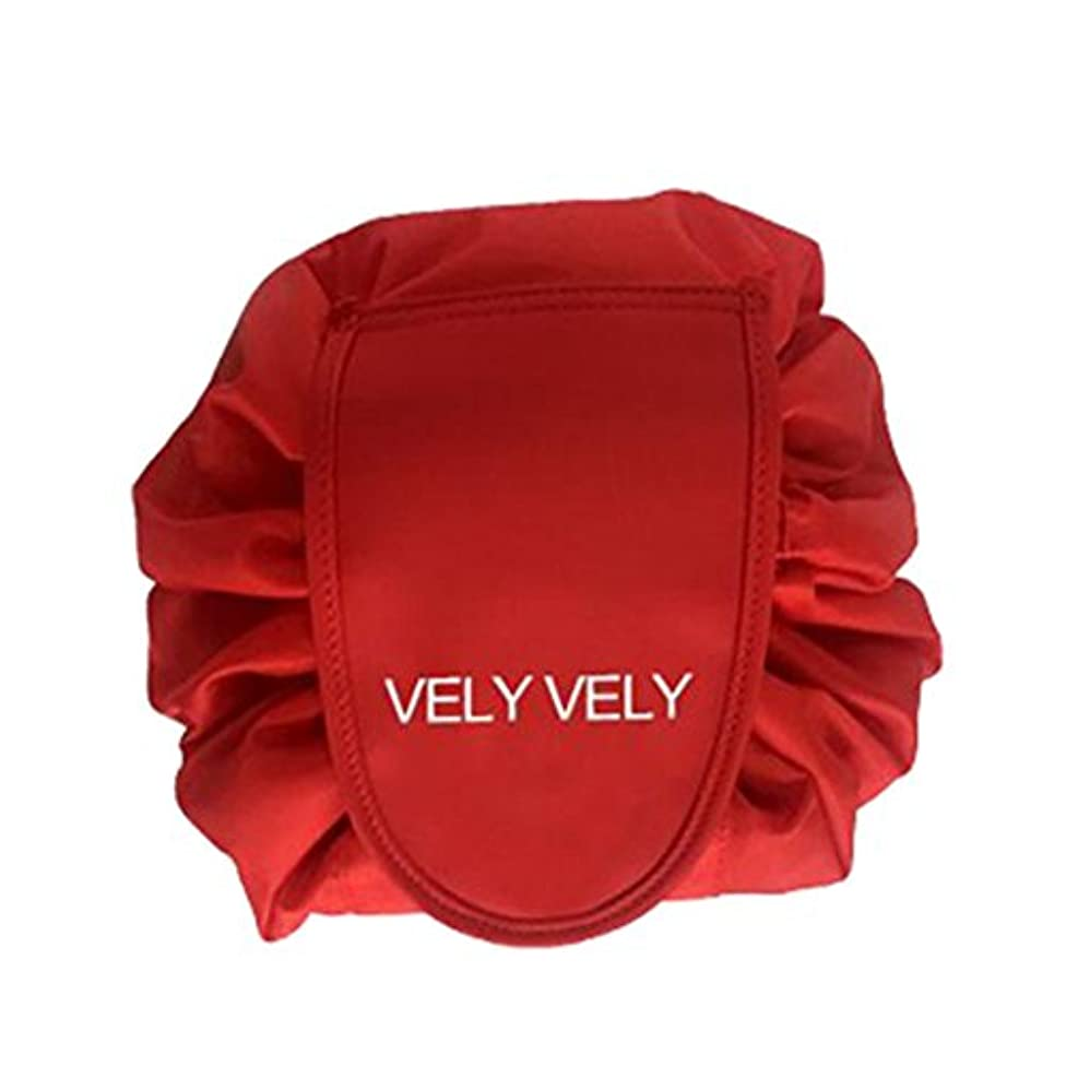 最悪キリスト息切れSmartRICH 化粧品収納バッグ,折畳式 巾着型 収納携帯用 便利 防水的 旅行 容量大きい 可愛い 化粧バッグ 化粧ポーチ (赤)