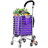 Super Kh® 車輪付きのショッピングカート古い折り畳みポータブルカート大容量食料品の買い物カゴ44x30x106cm *
