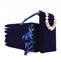 ジュエリーポーチ 巾着袋 小物 保存 ジュエリー ギフト収納 10枚セット ベロア プレゼント用ポーチ 小物入れ 柔らかい 洗える 保存袋 アクセサリー 携帯可能 (ブルー, 10)