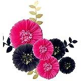 Fonder Mols ティッシュペーパー 花飾り 壁用 手作り 花 バチェロレッテ 結婚式 ブライダルシャワー バックドロップ アーチウェイデコレーション 12個パック ブラック フューシャゴールド