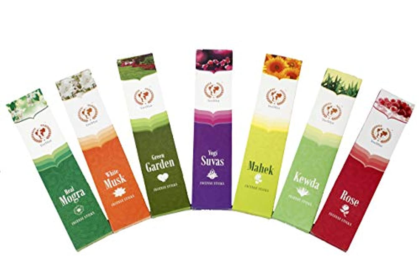 弾力性のある隣接同志VeeDInt Premium Quality Incense Sticks | Real Mogra, White Musk, Green Garden, Yogi Suvas, Mahek, Kewda, Rose, Scented and Colored Pack of 7