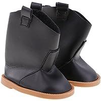 Lovoski ドール用 人形用 ハーフ ブーツ フラットヒール 靴 シューズ 18 インチアメリカンガール人形適用 5色選べる - ブラック