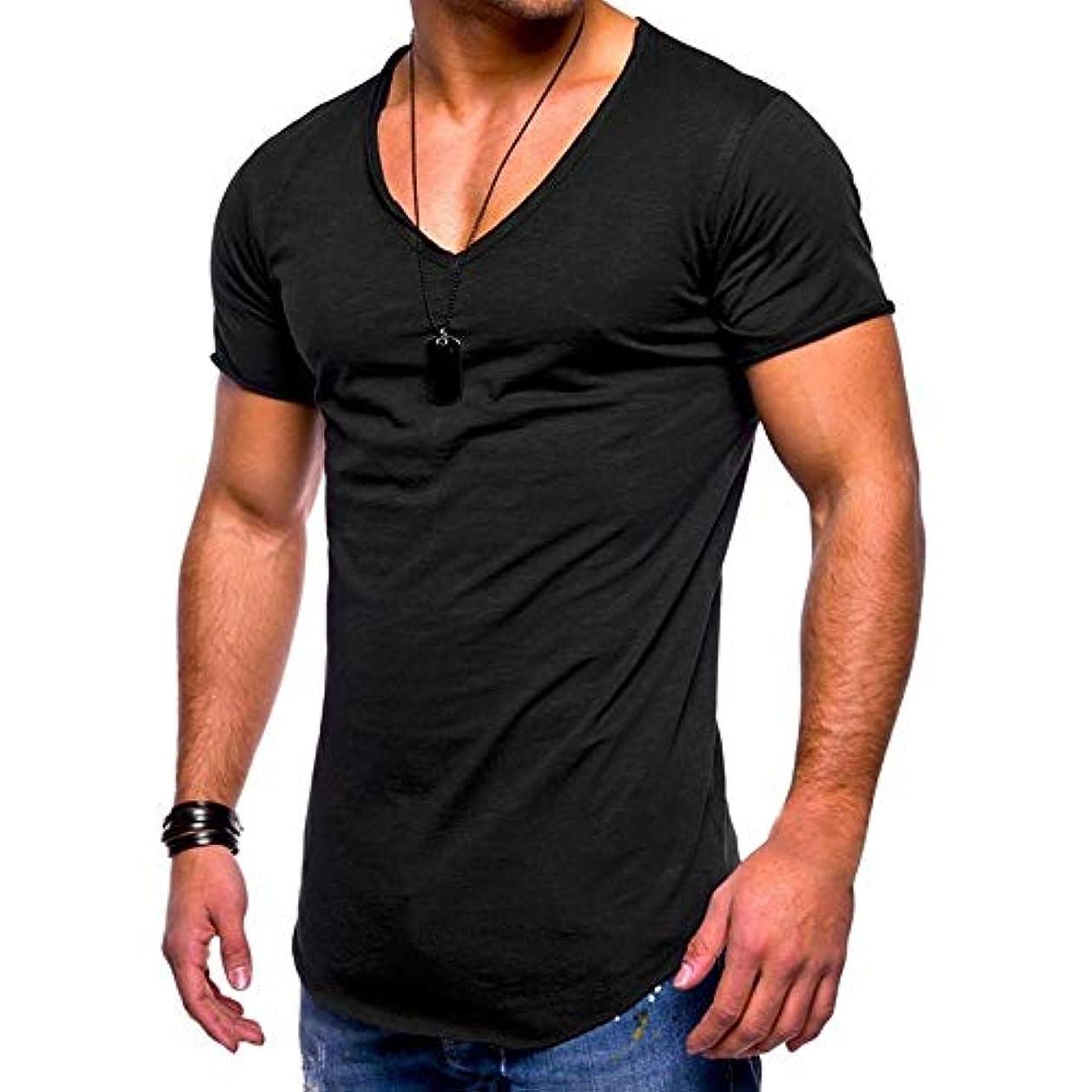 公平なまっすぐにする抑制MIFAN メンズTシャツ、カジュアルシャツ、半袖、コットンTシャツ、Vネックシャツ、スリムTシャツ、トップス&Tシャツ、メンズトップス