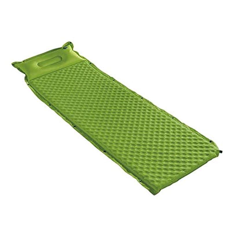 王子リフトチームキャンプ用エアベッド インフレータブルコンパクトシングルキャンプマットスリーピングバッグパッドからのフォームステッチ防水軽量枕付き ポータブルエアマットレス (色 : 緑, サイズ : 75.6*26*1.5inches)