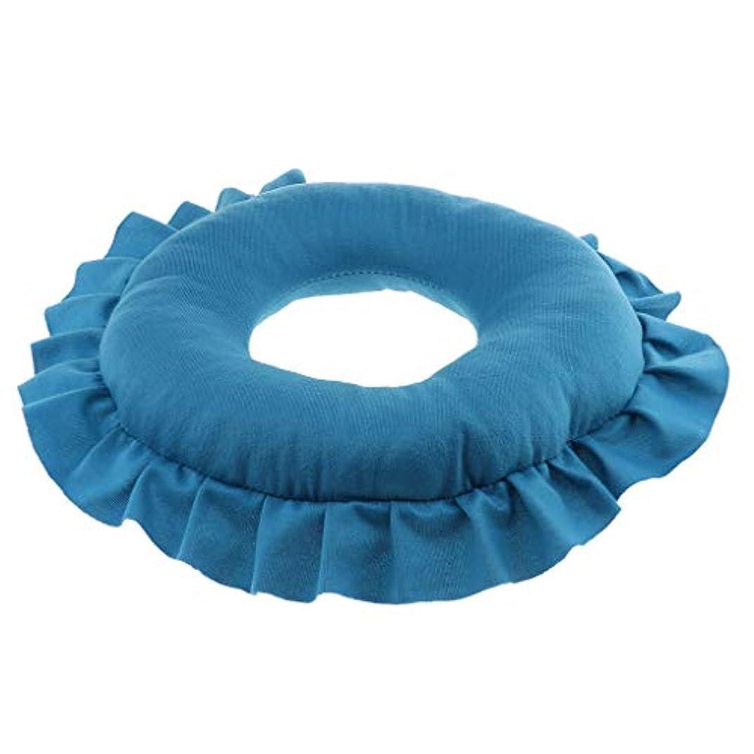 注釈プラットフォーム直立マッサージ枕 顔枕 エステマクラ 首枕 クッション うつ伏せ 顔 額 首 枕 マッサージ 全4色 - 青