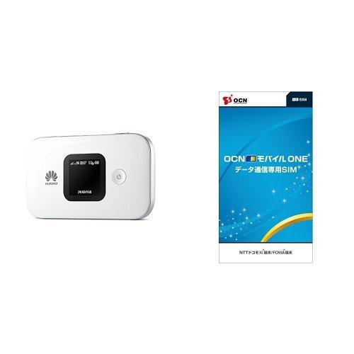 Huawei SIMフリーモバイルwi-fiルーター E5577S ホワイト 日本正規代理店品 OCN モバイル ONE LTEデータ通信SIMセット