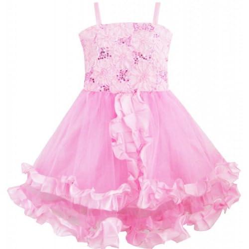 DJ42 子供ドレス 子どもドレス フラワードレス 刺繍ドレス 結婚式 発表会 タンク ピンク トリミング 115cm