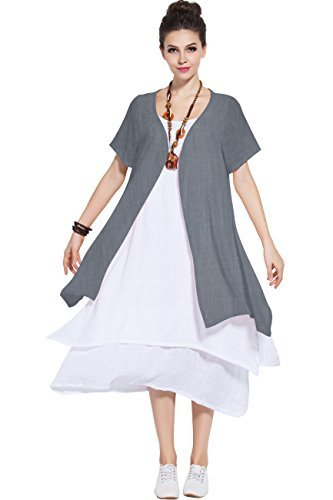 433af3c6caa Anysize Fake-Two-Piece Soft Linen cotton Dress Spring Summer · Save