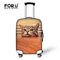 [FOR U DESIGNS]個性的な柄 伸縮素材 Spandex  スーツケースカバー ラゲッジカバー luggage cover 旅行カバンカバー トランクカバー Lサイズ 猫4