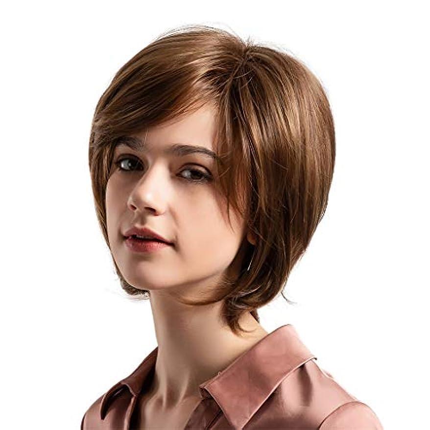 ピクニックをする週末水を飲む女性のかつら茶色斜め前髪自然なレベルの短いストレートヘアかつら