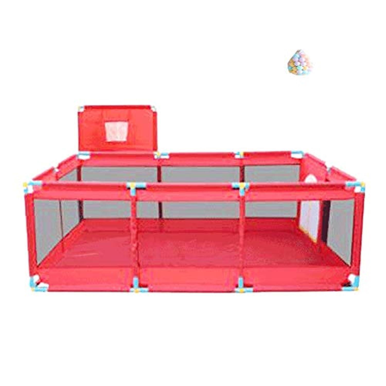 ベビーサークル 赤ちゃんのプレイヤードのプレイペンター屋内射撃フェンス10パネルのキッズのゲームペン200ボール、66センチメートルの高さ (色 : Red)