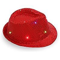YUANSHOP1 ledジャズ帽子 ハット ヒップホップ ブリンブリン パーティー グッズ スパンコール 中折れ クリスマス ハット ダンス 仮装 変装 コスプレ ディスコ,コンサート,イベント,パーティーに ユニセックス 男女兼用 (レッド)