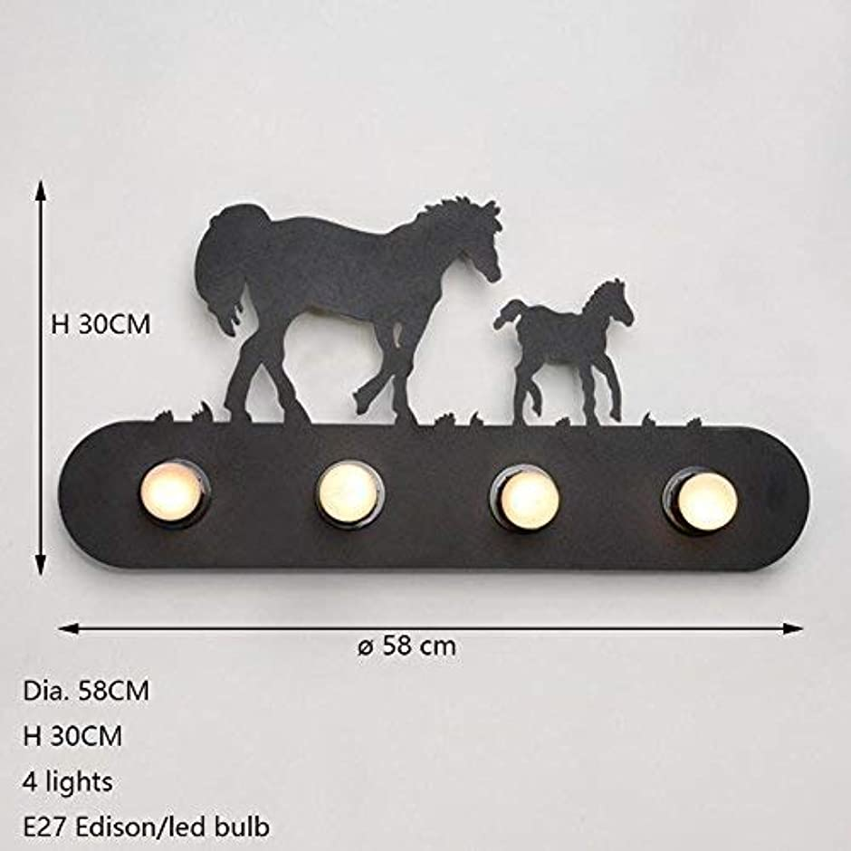 望ましいやさしく電気壁面ライト, 様式の国の照明棒の寝室のレストラン、風車のための産業馬の動物の壁ランプE27 AI LI WEI (Color : Double Horse)