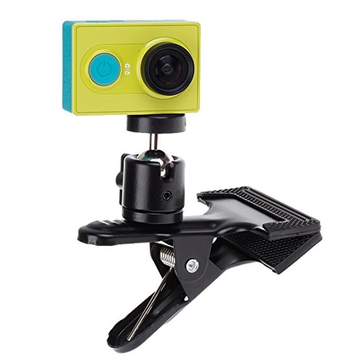 要件隣接する独立GzPuluz カメラアクセサリー Xiaomi Yi スポーツカメラの360度回転バックパックハットクリップファストクランプマウント