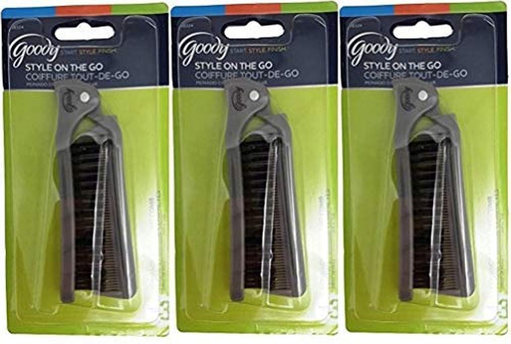 逃げるコカイン緊張Goody Folding Brush & Comb, Colors May Vary 1 ea (Pack of 3) [並行輸入品]