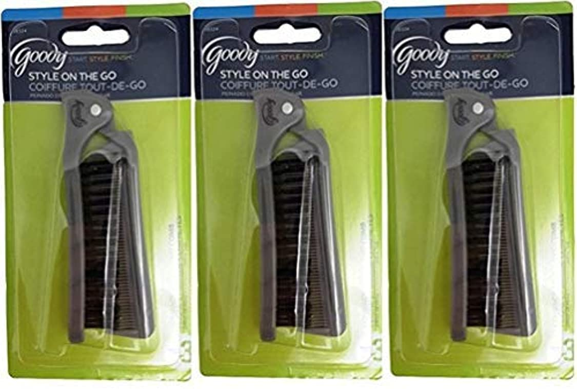 櫛開発どこでもGoody Folding Brush & Comb, Colors May Vary 1 ea (Pack of 3) [並行輸入品]