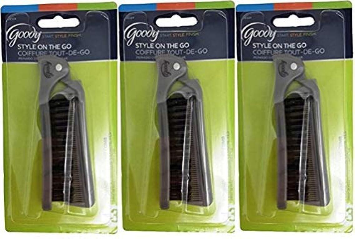 ネット耐久分岐するGoody Folding Brush & Comb, Colors May Vary 1 ea (Pack of 3) [並行輸入品]