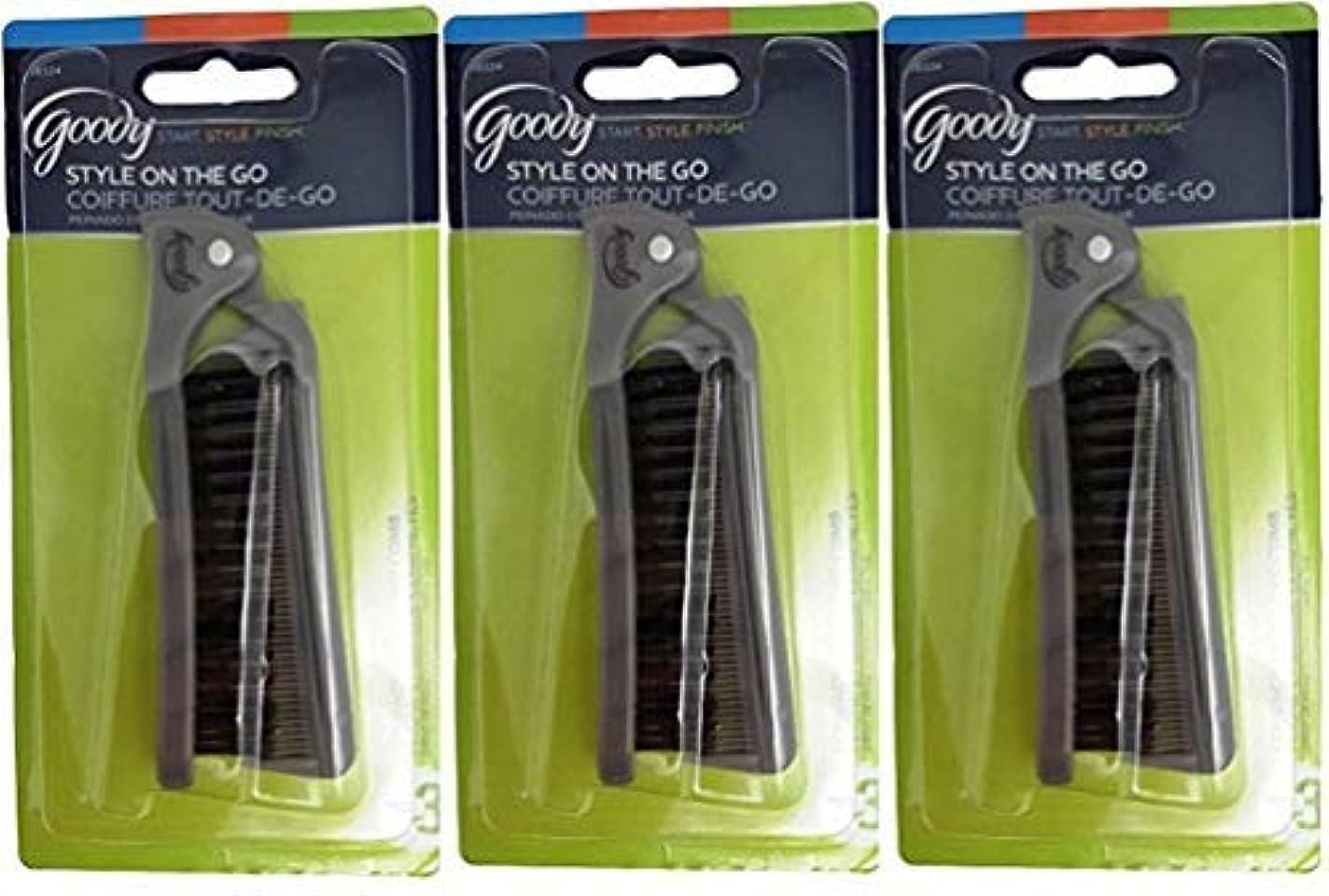 ミル背骨割り当てますGoody Folding Brush & Comb, Colors May Vary 1 ea (Pack of 3) [並行輸入品]