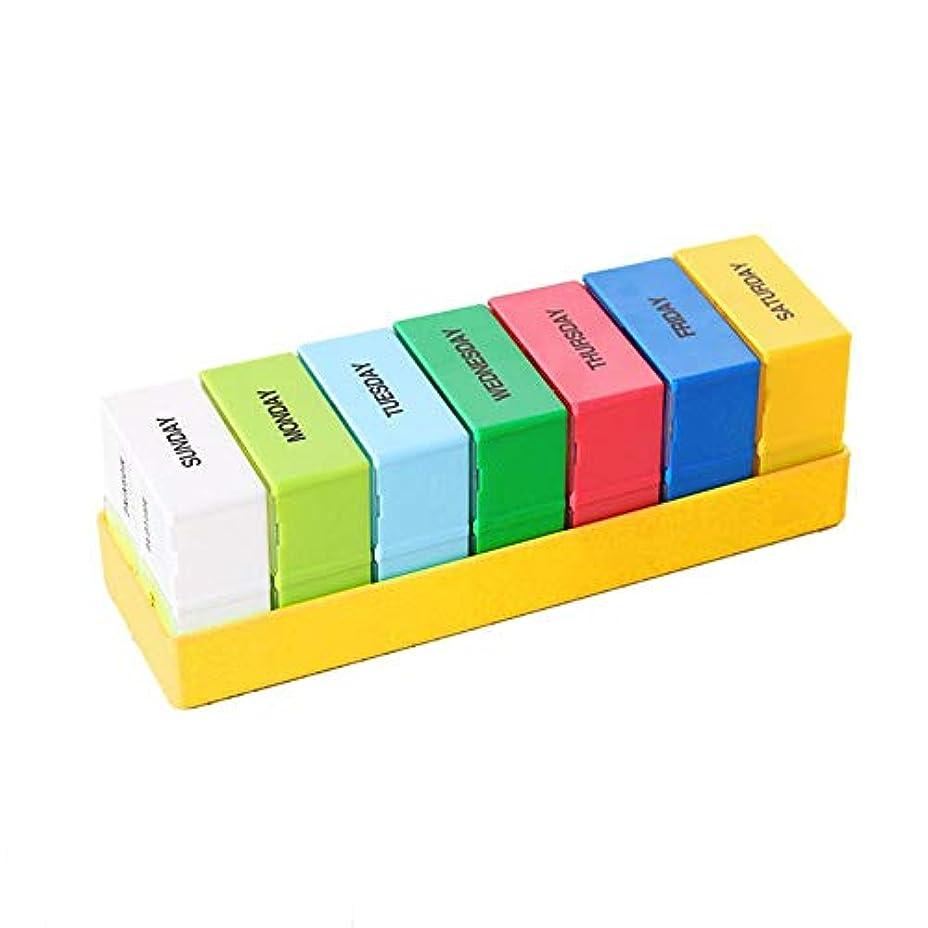 ピルボックスオーガナイザー 大容量カラー取り外し可能 キャリーオンピルディスペンスボックス ピルホルダーディスペンサー 大型コンパートメント収納用 ビタミン フィッシュオイル サプリメント