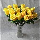 [Neustadt] 本物 そっくり 美しい イエロー 黄色 の薔薇 20本 造花の バラ インテリア プロポーズなどに