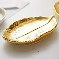 lemonadeus Small Trinket Ceramic Tray Ring Dish Gold Leaf Jewelry Bowl Dish Vanity Tray