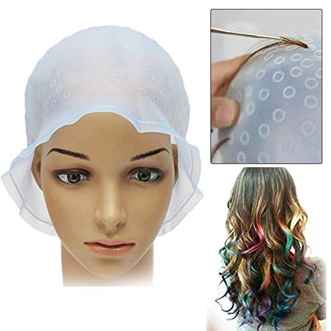 バイアスずらすペルー毛染め メッシュキャップ ヘアカラー 髪 シリコン素材 カラーリング 不要な染めを避ける 洗って使える 透明 ハイライトキャップ ブリーチ