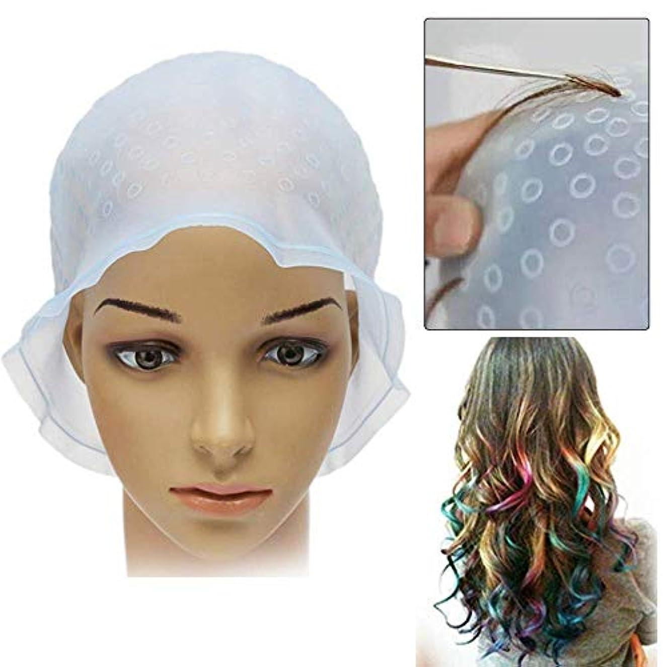 人質平衡高い毛染め メッシュキャップ ヘアカラー 髪 シリコン素材 カラーリング 不要な染めを避ける 洗って使える 透明 ハイライトキャップ ブリーチ