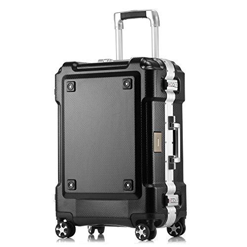 クロース(kroeus)スーツケース 大容量 アルミフレーム キャリーケース 機内持込可 軽量 旅行 出張 TSAロック おしゃれ 耐衝撃 4輪静音ダブルキャスター 仕切り板 クロスベルト ドリンクホルダー ネームタグ ガード 防塵カバー ブラック L