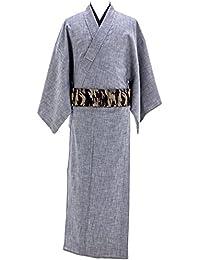 デニム着物 メンズ シャンブレー 木綿着物 単衣 綿100% No.3 ブルーグレー 縞