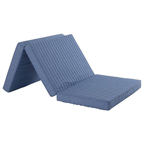 日本製 マットレス 三つ折り シングル 厚さ10cm バランスマットレス 硬質 〔シングルサイズ〕 ネイビー