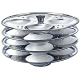 India Stainless Steel Idli Maker Steamer Stand, Pan Cake, Dhokla and Patra Plates Sancha Pot for Pressure Cooker (4 Tier - 16