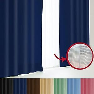 窓美人 エール 遮光性カーテン&UVカットミラーレース ロイヤルブルー 4枚セット(カーテン2枚/レース2枚) 幅100×丈185(183) cm カーテンフック付 洗える 省エネ