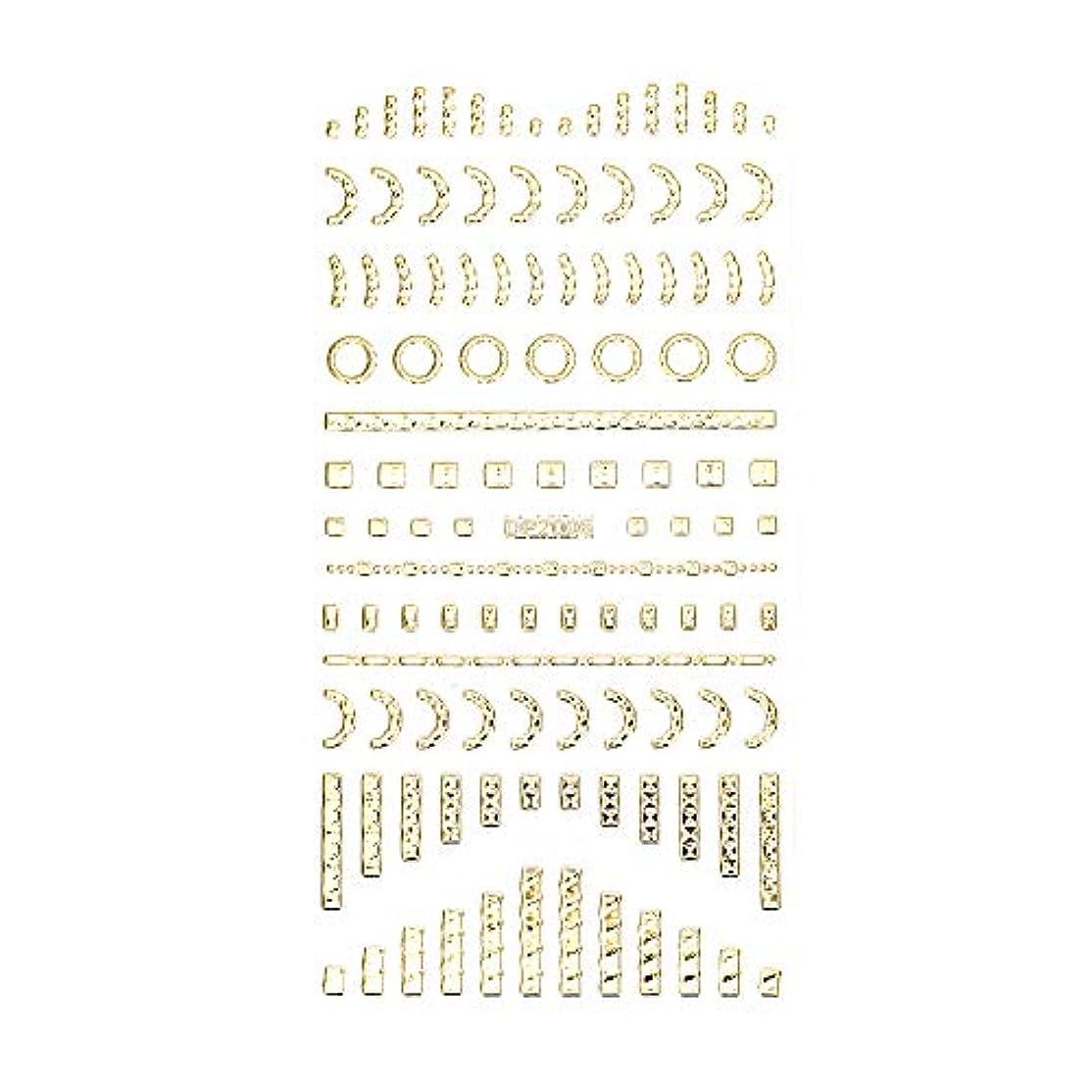 パトロール従来の慣らすネイルシール デザインパーツ風シール ゴールド【DP2006】【タイプ6】ネイルアート スクエア レクタングル トライアングル くり抜き フレーム