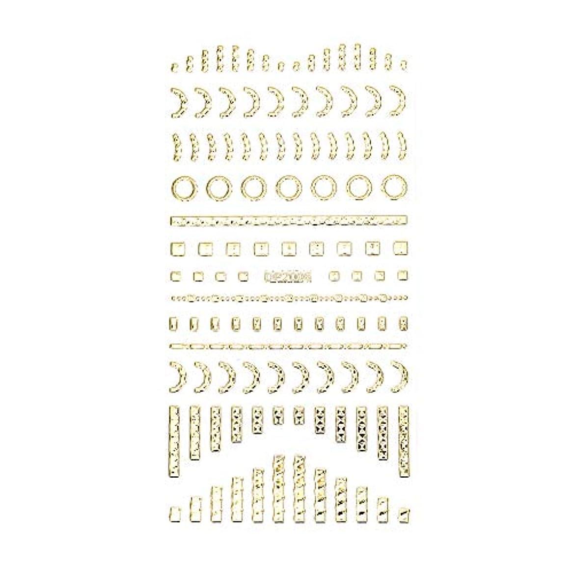 地下予定タイプネイルシール デザインパーツ風シール ゴールド【DP2006】【タイプ6】ネイルアート スクエア レクタングル トライアングル くり抜き フレーム