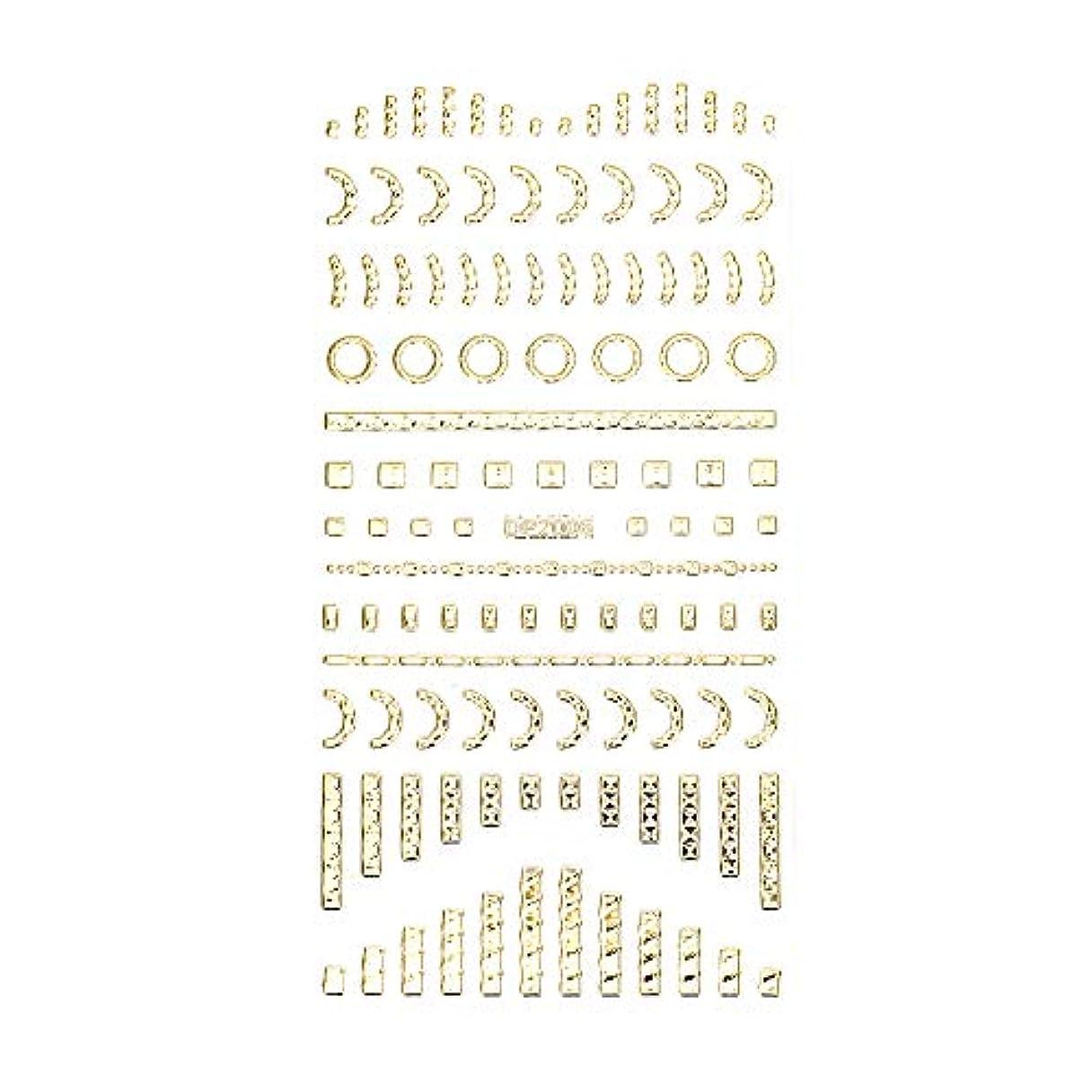 バンド申し立てられた休みネイルシール デザインパーツ風シール ゴールド【DP2006】【タイプ6】ネイルアート スクエア レクタングル トライアングル くり抜き フレーム