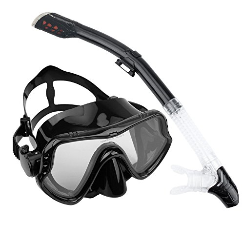 Winhi シュノーケルマスク シュノーケリング セット 曇り止め強化ガラス 潜水メガネ ダイビングマスク 呼吸用パイプ スイミングゴーグル 呼吸管 スキューバ マウスピース2点セット シリコーン製 男女兼用 初心者でも適用