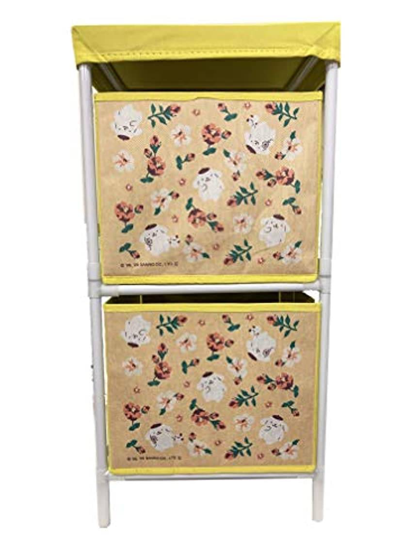 魂訴える尋ねる2段ボックスで片付けもバッチリ サンリオキャラクターズ 花柄 収納ボックス 2段 高さ58cm (ポムポムプリン)