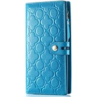 LDUNDUN-BAG, 2019 Leather Clutch Bag Long Section Peach Flower Wallet Women's Casual Embossed Wallet Women's Wallet (Color : Blue, Size : S)