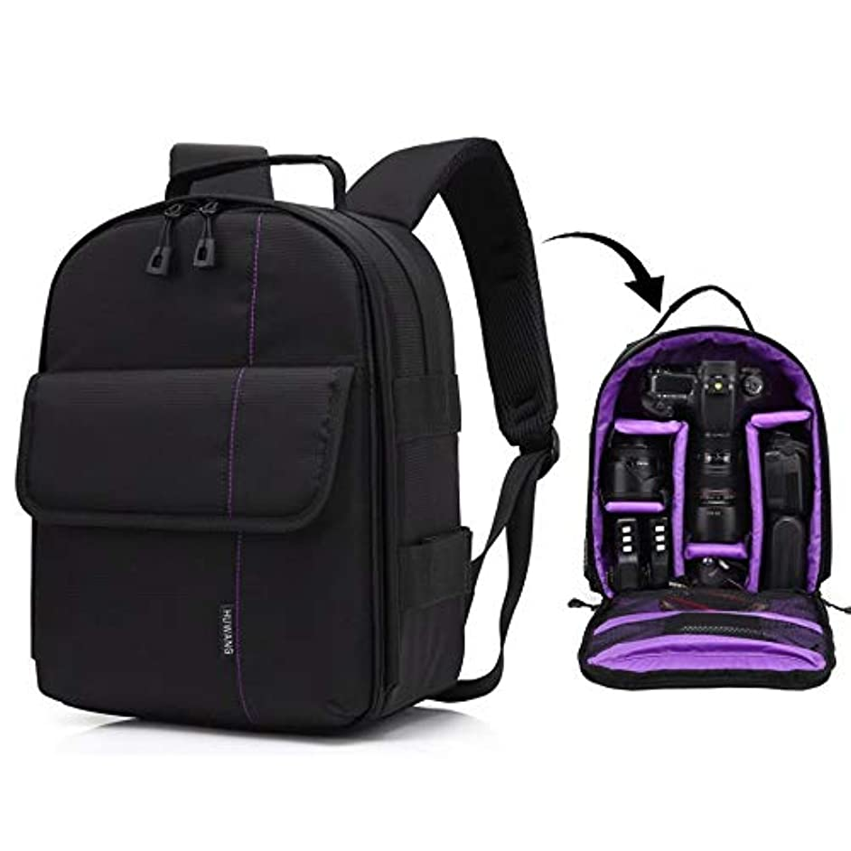 変換オフ読書カメラバッグケース、 ポータブル防水スクラッチ耐性ポリエステル表面素材デュアルショルダーバックパックアウトドアスポーツカメラバッグ (色 : 紫の)