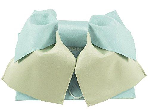 女性用 浴衣帯 作り帯 結び帯 (水色とオフホワイト)