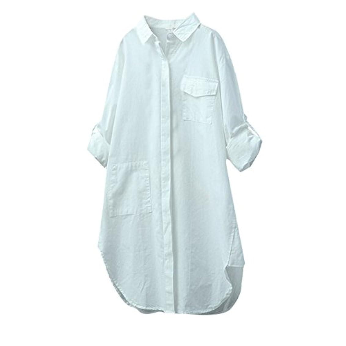 スペースビリーむさぼり食うTシャツ レディース 長袖 トップス ポケット付き 無地 Vネック ボタン 不規則 ブラウス 人気 夏服 コットンとリネン 快適な 軽い 柔らかい かっこいい ワイシャツ カジュアル シンプル オシャレ 春夏秋 対応
