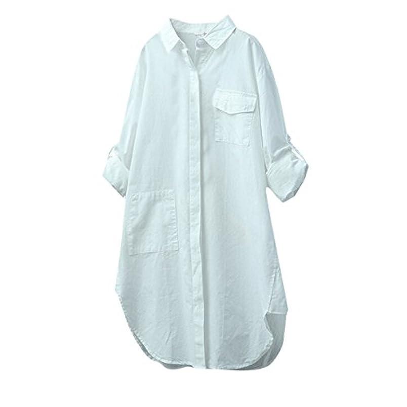 憂鬱音ストライクTシャツ レディース 長袖 トップス ポケット付き 無地 Vネック ボタン 不規則 ブラウス 人気 夏服 コットンとリネン 快適な 軽い 柔らかい かっこいい ワイシャツ カジュアル シンプル オシャレ 春夏秋 対応